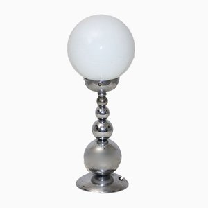 French Table Lamp with White Spherical Diffuser, 1950s