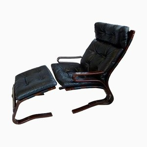 Scandinavian Leather Skyline Lounge Chair & Ottoman from Hove Mobler, 1970s