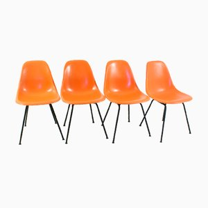 Vintage Orange Side Chairs with H-Bases by Charles & Ray Eames for Herman Miller, Set of 4