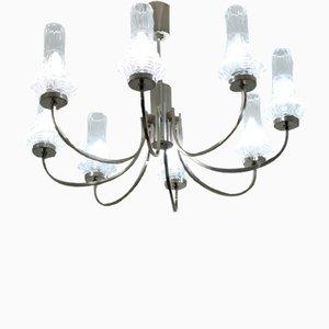 Lámpara de araña de cristal de 8 brazos, años 60