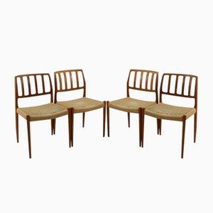 Chaises de Salle à Manger Vintage Modèle 83 en Teck par Nils O. Møller pour J.L. Møllers, Set de 4