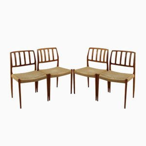 Vintage Model 83 Teak Dining Chairs by Nils O. Møller for J.L. Møllers, Set of 4