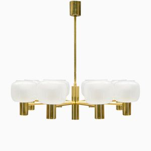 Eight Shade Opaline Glass and Brass Chandelier, 1960s
