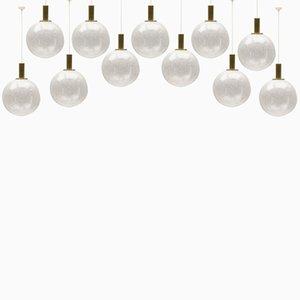 Lámparas de vidrio burbuja de Doria, años 60. Juego de 11