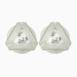 Geometrische Glas Wandlampen von Hoffmann Leuchten, 1960er, 2er Set