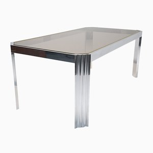 Aluminium & Smoked Glass Dining Table, 1970s