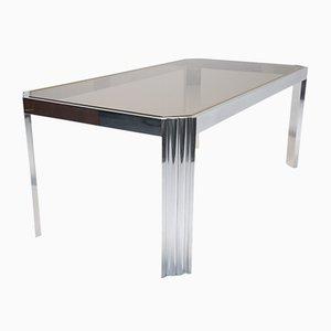 Mesa de comedor de aluminio y vidrio ahumado, años 70