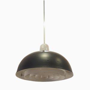Lámpara colgante escandinava de alumino y vidrio opalino, años 60