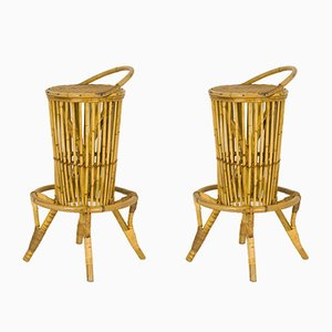 Vintage Italian Rattan Bar Stools, Set of 2