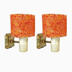 Lampe de Bureau Orange en Plastique et Granite, Set de 2