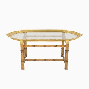 Italian Wood & Brass Coffee Table, 1970s