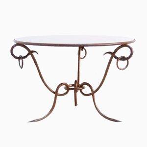 Tavolino da caffè vintage in ferro forgiato dorato di René Drouet