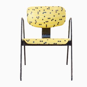 F1 Armchair in Yellow and Black by Willy Van Der Meeren for Tubax, 1950s
