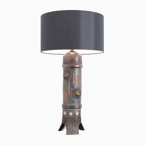 Vintage Large Black Ceramic Table Lamp from Baudouin Monteyne