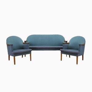 Dänisches Sofa & Sessel mit Armlehnen aus Holz, 1970er