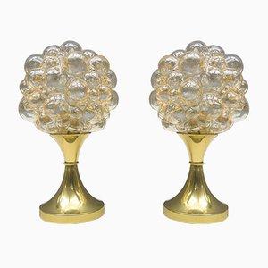 Lámparas de mesa vintage de burbujas de vidrio de Helena Tynell para Limburg. Juego de 2