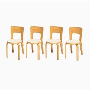 Chaises de Salon Vintage Modèle 66 par Alvar Aalto pour Artek, Set de 4