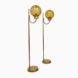 Lámparas de pie modelo G-118 de latón de Bergboms. Juego de 2