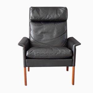 Fauteuil Vintage en Cuir Noir par Hans Olsen pour CS Mobelfabrik