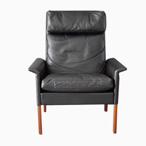 Vintage Black Leather Armchair by Hans Olsen for CS Mobelfabrik