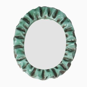 Italian White & Green glazed Ceramic Wall Mirror from La Farnesiana, 1950s