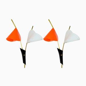 Applique Arum vintage arancioni e bianche, anni '60, set di 2