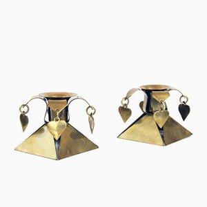Skandinavische Vintage Kerzenhalter, 2er Set