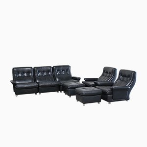 Living Room Suite Leather Sofa, 2 Lounge Chairs, and 2 Ottomans from Profilia, 1970s, Set of 5
