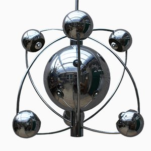 Lámpara de araña era espacial Mid-Century de cromo de Goffredo Reggiani para Reggiani