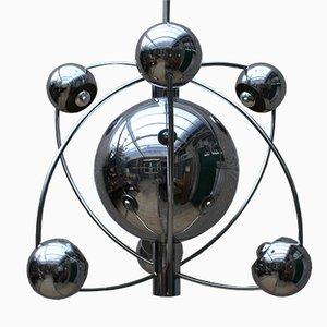 Lustre Mid-Century Space Age en Chrome par Goffredo Reggiani pour Reggiani