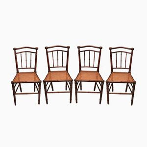 Art Nouveau Chairs with Woven Seats, 1910s, Set of 4