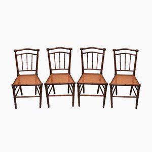 Jugendstil Stühle mit Geflochtenem Sitz, 1910er, 4er Set