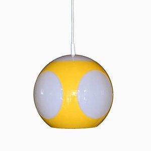 Lámpara Pop Art con esfera amarilla, años 70