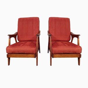 Teak Lounge Chairs, 1950s, Set of 2