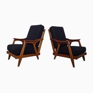 Fauteuils Lounge en Teck, 1950s, Set de 2