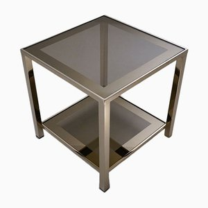 Belgian 23 Karat Gold Plated Side Table with Shelf from Belgochrom, 1980s
