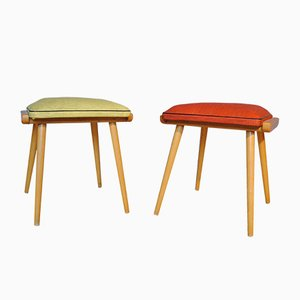 Mid-Century Wood and Vinyl Stools, 1950s, Set of 2
