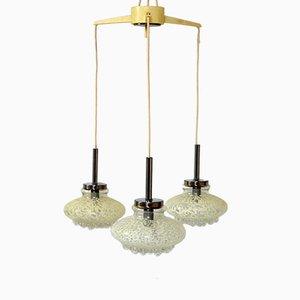 Lámpara colgante alemana con tres pantallas de cristal, años 70