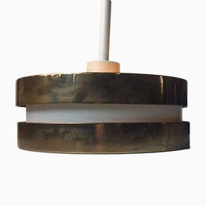 Lampada a sospensione in ottone e cristallo di Jo Hammerborg per Orno, anni '60