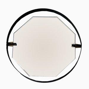 Espejo italiano de acero ennegrecido, años 50