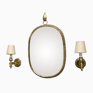 Espejo y lámparas de pared Mid-Century de latón de Josef Frank para Svenskt Tenn
