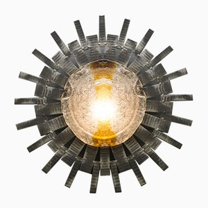 Lampada Mid-Century brutalista in vetro di Murano e metallo