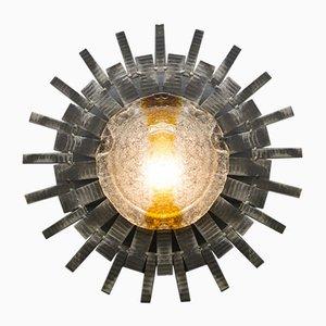 Lámpara Mid-Century brutalista con forma de rayos de sol de cristal de Murano y metal