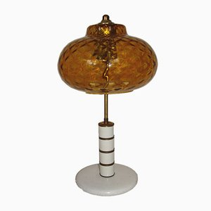 Vintage Amber Pressed Glass Table Lamp, 1970s