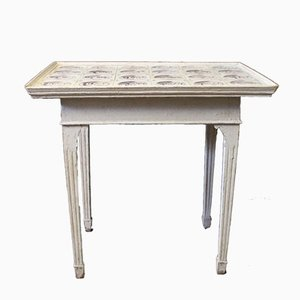 Louis XVI Style Grey Painted Wooden Table with Dutch Tiles, 1780s