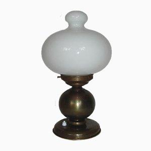 Art Deco Tischlampe aus Messing & Glas, 1930er