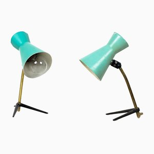 Green & Black Table Lamps on Bird Legs, 1950s, Set of 2