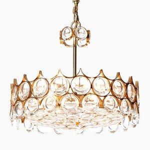 Lampadario Mid-Century a 5 luci in vetro e ottone dorato di Palwa
