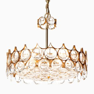Mid-Century Five-Light Crystal Cut Glass & Gilt Brass Chandelier from Palwa