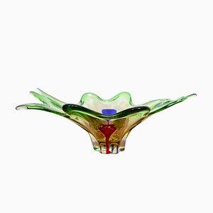 Cuenco italiano grande de cristal de Murano, años 50